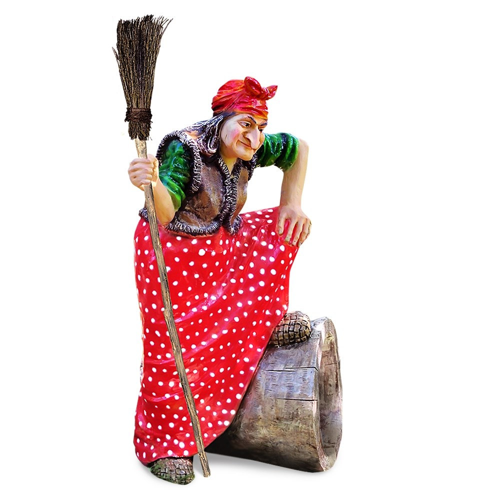 Садовая фигура Баба-Яга на ступе