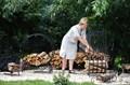 Металлическая дровница для сада
